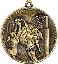 Lapal Dimension Netball Deluxe medaille - antiek goud 2,35 inch Pack van tien