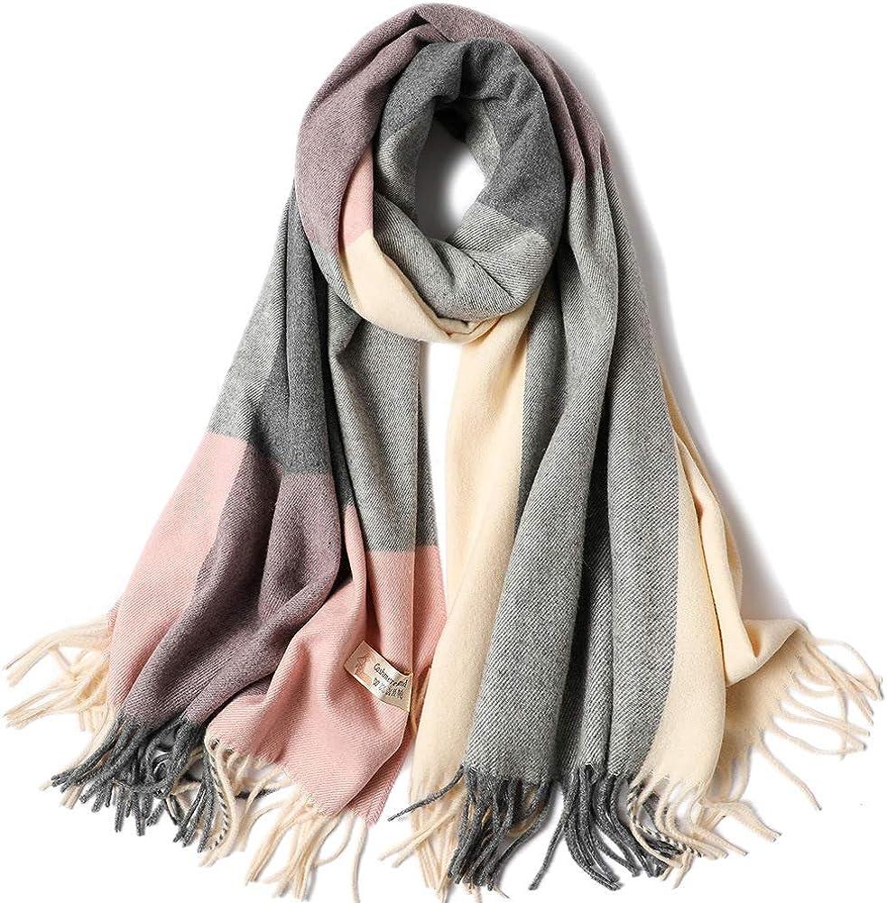 17KM Women's Fashion Long Shawl Big Grid Winter Warm Lattice Large Scarf Stylish Warm Blanket Scarf Gorgeous Wrap Shawl