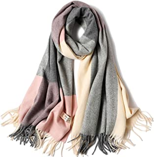 TECHONG Women's Winter Thickening Warm Wool Scarf - Fashion Soft Cashmere Feel Tassel Wool-Blend Plaid Neckerchief Cape Wraps