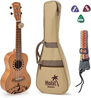 Hola! Music HM-124GL+ Laser Engraved Mahogany Concert Ukulele Bundle with Aquila Strings, Padded Gig Bag, Strap and Picks - Hula Dancer