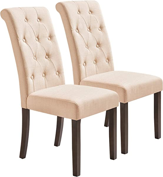 Dining Chairs High Back Upholstered Tufted Fabric Parson Chair Side Chair With Solid Wood Legs Set Of 2 Beige