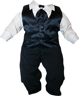 Taufanzug Baby Junge Kinder Hochzeit Anzüge Festanzug, 4tlg , Marineblau-Weiß K15