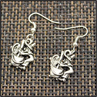 Handmade witch on broomstick halloween fortune teller crystal ball Pendants DIY Earrings For Women Party
