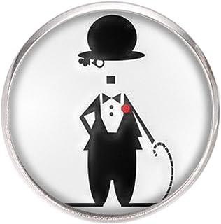 Spilla con perno in acciaio inossidabile, diametro 25 mm, spillo 0,7 mm, Fatto a Mano, Illustrazione Charlie Chaplin 2
