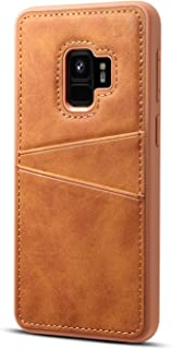 Protective Case Compatible with Samsung Soft TPU and Hard Pc Back Cover with 2 Card Slots Shockproof Case Compatible Samsung S9 Phone case (Color : Brown)