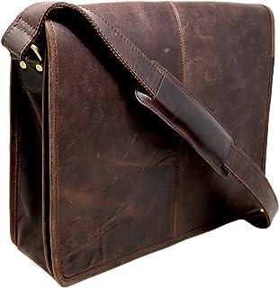 """18"""" Buffalo Leather Messenger Bag Laptop case Office Briefcase Men Computer Distressed Shoulder Bag"""