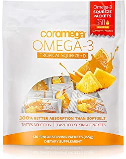 Coromega Omega 3 Fish Oil Supplement, 650mg of Omega-3s with 3X Better Absorption Than Softgels, Tropical Orange Flavor, 1...