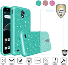 Compatible for At&t Axia QS5509a Case, Cricket Vision Case, with Tempered Glass Screen Protector, Glitter Bling Diamond Design Hybrid [Shockfpoof] Tough Cover Case for Women Girl Design (Teal)