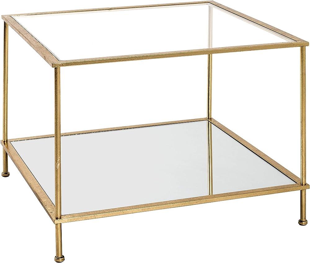 Haku möbel, tavolino ,telaio in tubo d`acciaio verniciato in oro,ripiani  in vetro 20289