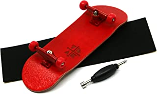 Teak Tuning Prolific Complete Fingerboard with Upgraded Components - Pro Board Shape and Size, Bearing Wheels, and Trucks - 32mm x 97mm Handmade Wooden Board - Red Rover Edition