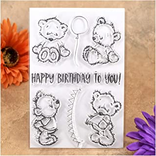 Kwan Crafts Happy Birthday To You Bear Balloon Clear Stamps for Card Making Decoration and DIY Scrapbooking
