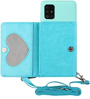جراب Mylne بحزام كتف كروس لهاتف Samsung Galaxy A51، جراب حامل بطاقات من الجلد الصناعي مع ظهر من السيلكون، أزرق