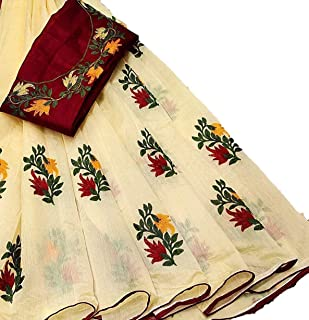 OMICRON FAB Women's Woven Cotton Silk Jacquard Saree With Blouse Piece