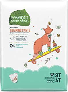 Seventh Generation Baby & Toddler Training Pants, Free & Clear, Size 3T-4T, 32-40lbs, 22 count