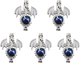 JJG 5PCS White Gold Plated Pearl Bead Cage Locket Pendants for Essential Oil Scent Diffuser Jewellery Making - Dragon