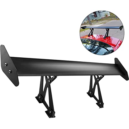 57 Length // 7 Bracket Height ICBEAMER JDM Racing GT Style with 100/% Real Carbon Fiber Adjustable Rear Weatherproof Trunk Deck Spoiler with Accessories Kit