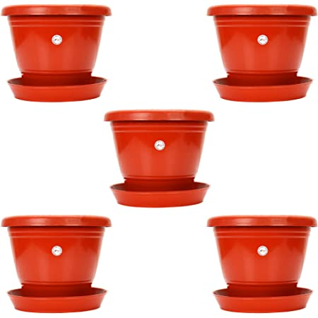 Kraft Seeds 7.5-inch Garden Balcony Flowering Planter with Bottom Plate/Tray (Red/Terracotta, Pack of 5)