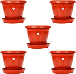 Kraft Seeds 8-inch Garden Balcony Flowering Planter with Bottom Plate/Tray (Red/Terracotta, Pack of 5)