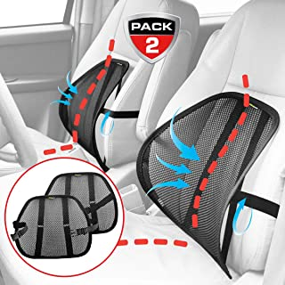 MAXXPRIME, Lumbar Support, Maxxprime Mesh Back Cushion 2 Pack Lower Back Support, Double Mesh Lumbar Cushion Air Flow Breathable Back Support Cushion for Use in Car Home and Office,Black