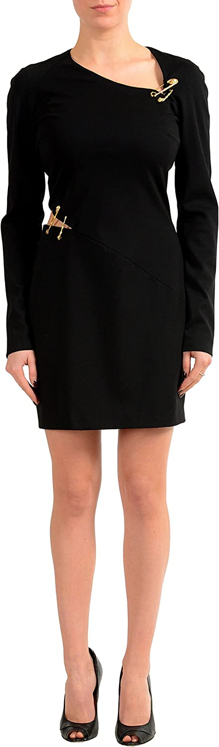 Versace Versus Black Long Sleeve Women's Stretch Sheath Dress