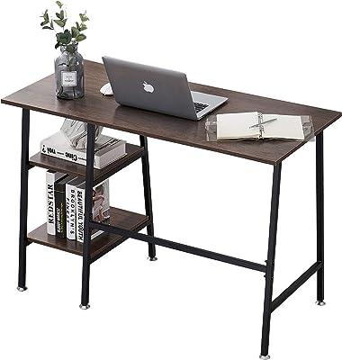 VECELO Table de Bureau avec 2 Etagères, Table Informatique en Bois chêne, Armature Métallique Table d'Etude pour Bureau Chambre Salon(Brun 4, 109 * 51 * 76)
