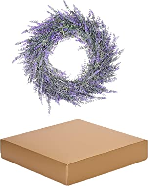 Lavender Door Wreath, Spring Decorative Wreath, Indoor Farmhouse Wreath with Green Leaves on Durable Plastic-Based Artificial