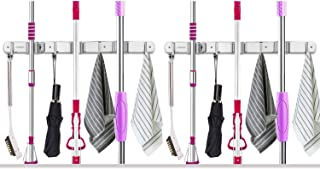 """VOSIGREEN Broom & Mop Holder, Wall Mount Organizer Hanger for Rakes, Utensils, Tools-3 Clamps, 4 Hooks-17"""" Self Adhesive or Drillable Installation-For Kitchen, Garage, Garden, Office, Closet, 2 Pack"""