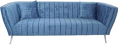 DRW Sofá Estilo Chic Azul Terciopelo con Cojines, 223X85X78 cm