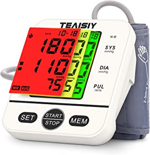 Tensiómetro de Brazo Digital con Pantalla LCD, Automática de Presión Arterial y Pulso de Fuencia Cardíaca Detección, 22-40 cm Brazalete, Memorias de 2 Usuario (2 * 99)