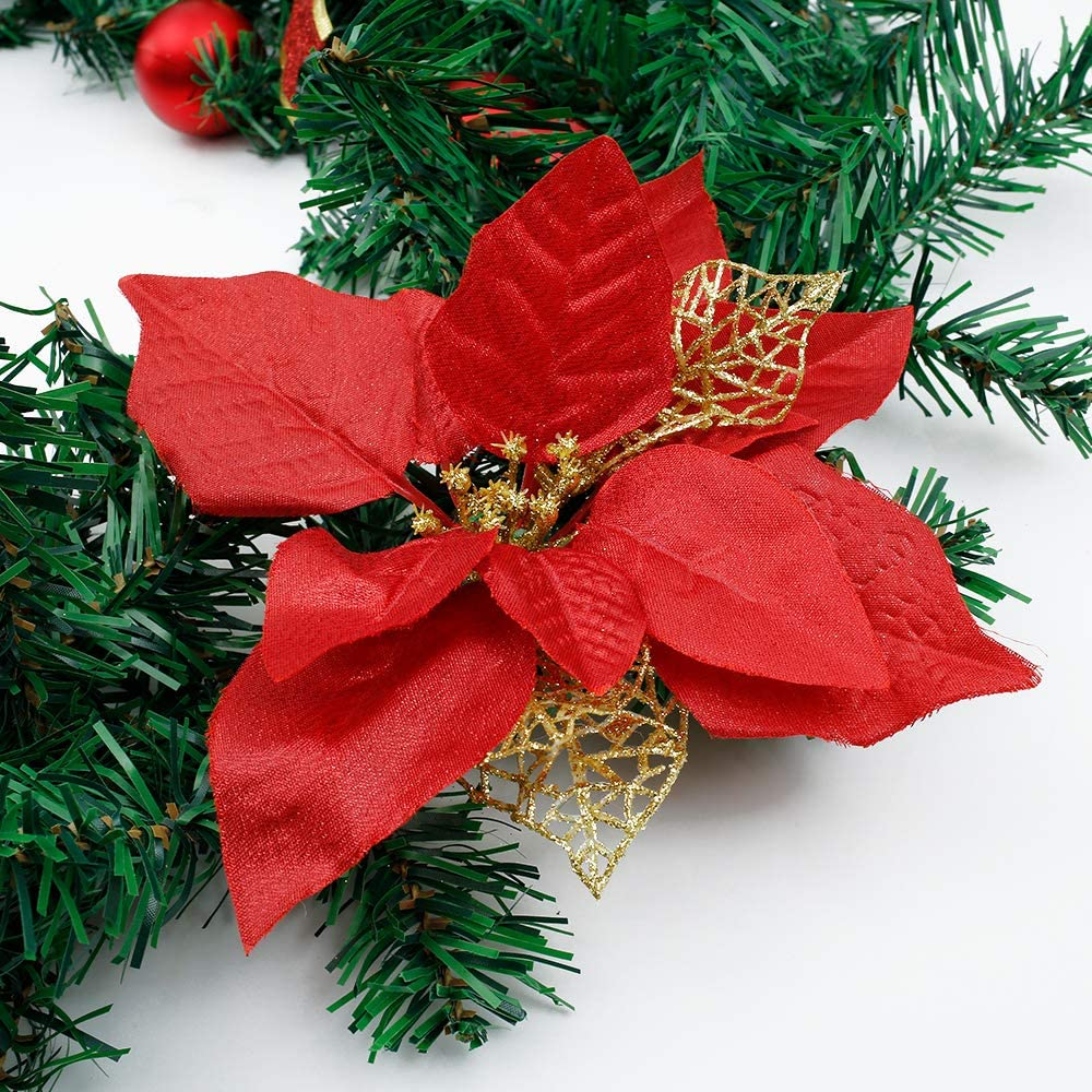 1Pcs, Red 6 Ft Christmas Garland Decorations with Shatterproof Ball Ornaments Bowknot and Berries for Stairs Mantle Fireplace Tree Garden Yard Decor Home Decor