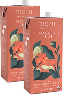 Rishi Tea Masala Chai Concentrate Beverage | Immune Support, USDA Certified Organic, Fair Trade Black Tea, Antioxidants, Energy-Boosting | 32 oz Carton, 8 Servings (Pack of 2)