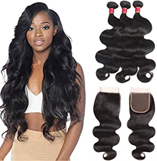 Brazilian 10A Body Wave 3 Bundles with Closure Hair Extensions for Black Women 100% Real Virgin Human Hair Free Part Closure Natural Color(18 20 22+16)