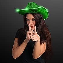 FlashingBlinkyLights Green Sequin Light Up LED Cowboy Hat