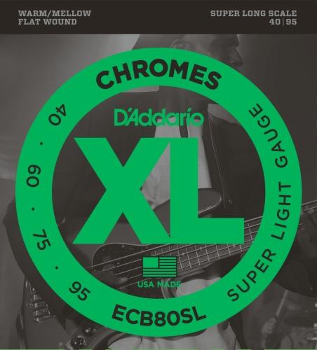 D'Addario ECB80SL - Juego de cuerdas para bajo eléctrico de cromo.040 - .095