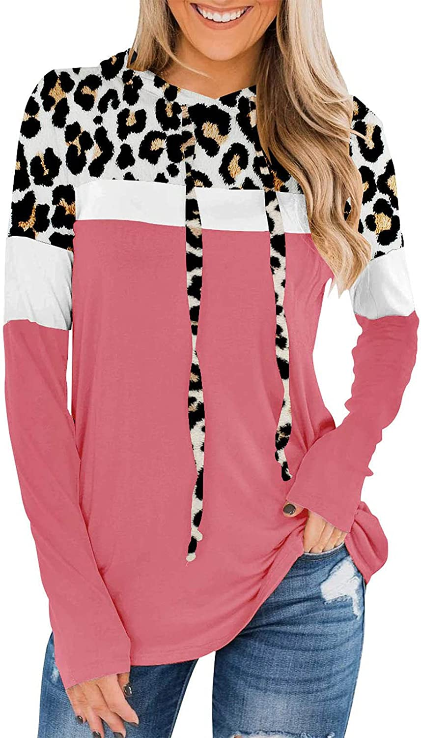 Women's Leopard Stitching Hooded Sweater Casual Lightweight Long Sleeve Blouse Ladies Crewneck Fashion Pullover Tops