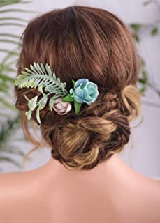 Aimimier Bridal Flower Hair Pins Light Blue Blush Flower Green Leaves Bush Hair Piece Rustic Wedding Bridesmaid Hair Acces...