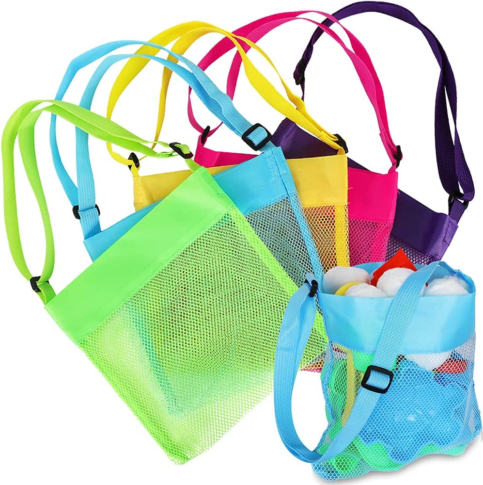 5pcs Mesh Beach Bag Beach Toys Shell Bags Beach Bag for Kids Storage Shell Fruit Vegetable Market Grocery Picnic Tote (Colorful) : Toys & Games