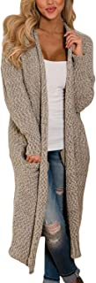 Womens Solid Casual Cozy Knit Open Front Long Cardigan Sweater
