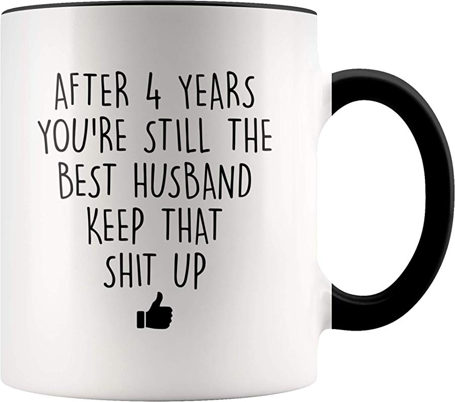 YouNique Designs 4 Year Anniversary Coffee Mug For Him 11 Ounces 4th Wedding Anniversary Cup For Husband Four Years Fourth Year 4th Year
