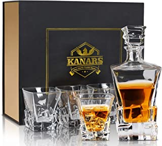 Original Iceberg Whiskey Decanter And Glasses Set With Luxury Gift Box, KANARS Premium Lead Free Crystal Liquor Decanter Set For Scotch, Bourbon And Whisky, 5-Piece