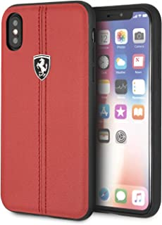 CG Mobile Ferrari Genuine Leather Case for iPhone X and iPhone Xs Hard Cell Phone Cover Red with Contrasting Red Stitching...