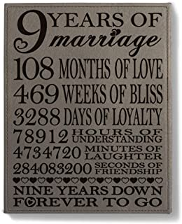 KATE POSH 9th Anniversary Leather Plaque, 9th Wedding Anniversary, 9Years Together as Husband and Wife