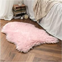 Faux Fur Sheepskin Rug, Soft Chair Cover Seat Pad Plain Skin Fluffy Area Rugs, Washable Bedroom Home Decor,Pink,50x80cm