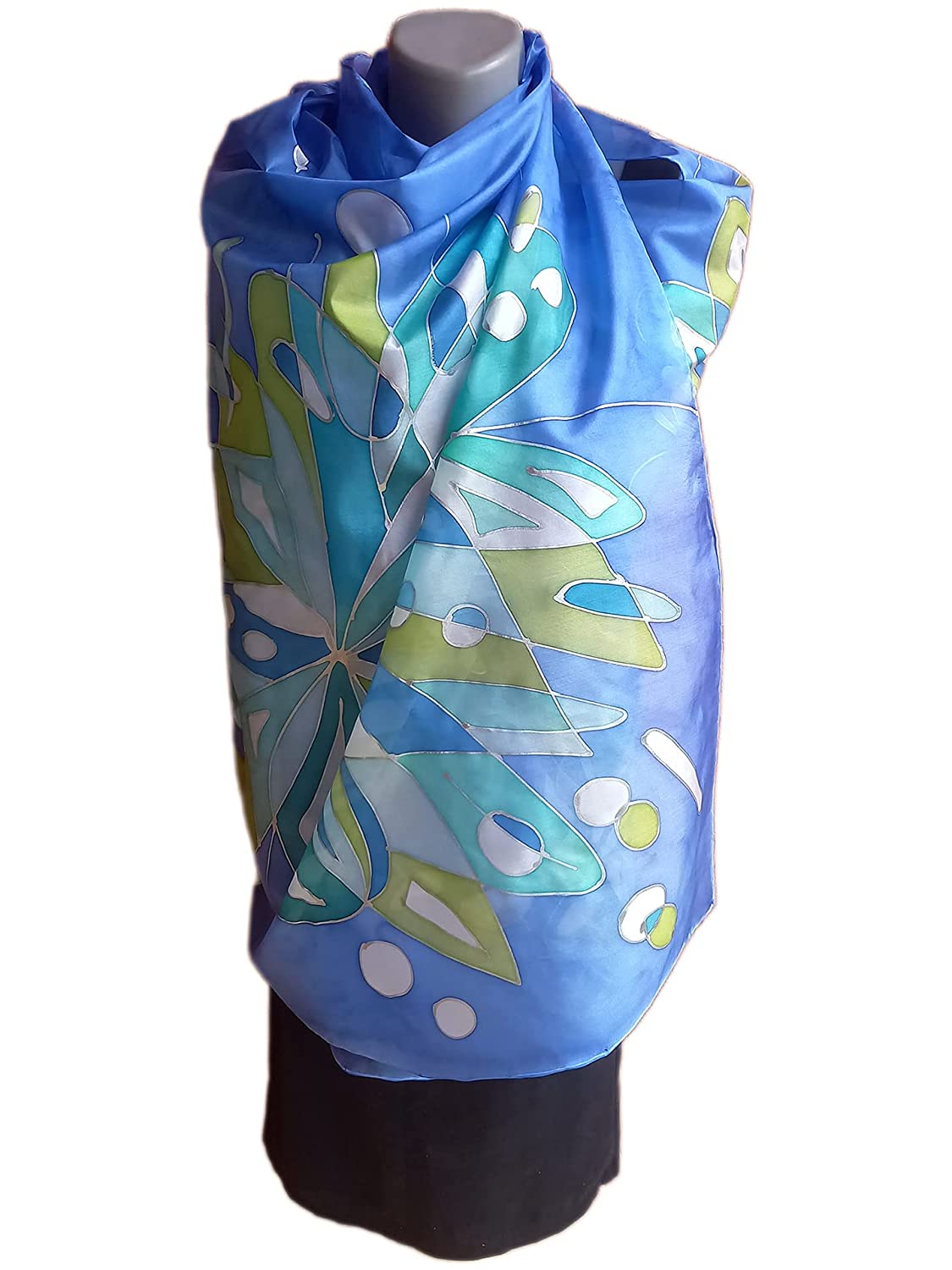 BLUE INSPIRATION Hand-Painted Silk Scarf 25% OFF Woman Pure Mail order cheap
