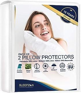 SLEEPZEN Protège Oreillers Imperméables 60 x 60 cm - Set de 2 - Molleton 100% Coton Bi-ome, sous Taie Oreiller - Fermeture...