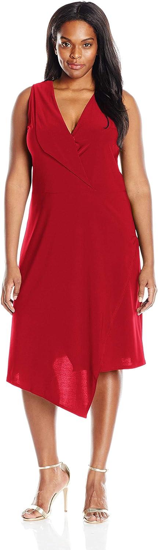 Star Vixen Women's Plus Size Sleeveless Assymetrical Fauxwrap Dress with Foldover Collar