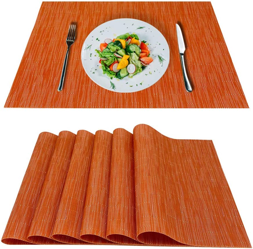 saileaf Placemats Set 0f 6 Placemat,He 67% OFF of fixed price Braided Vinyl High quality Bamboo