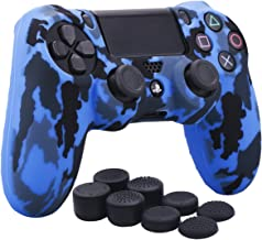 YoRHa Water Transfer Printing Camouflage Silicone Cover Skin Case for Sony PS4/slim/Pro controller x 1(blue) With Pro thumb grips x 8
