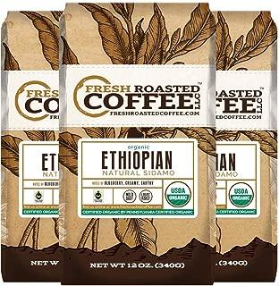 Organic Ethiopian Natural Sidamo Fair Trade Coffee, Fresh Roasted Coffee LLC. (12 oz. 3pk Whole Bean)