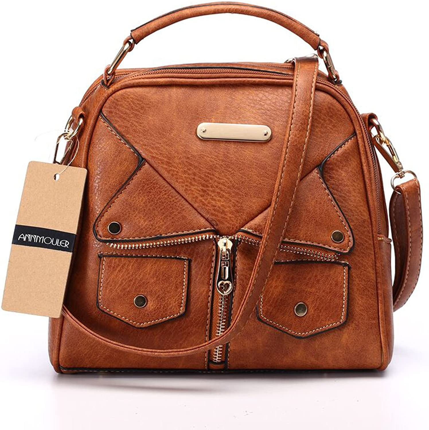 Women Double Zipper Handbag Pu Leather Fashion Ladies Shoulder Bag Women Crossbody Bag